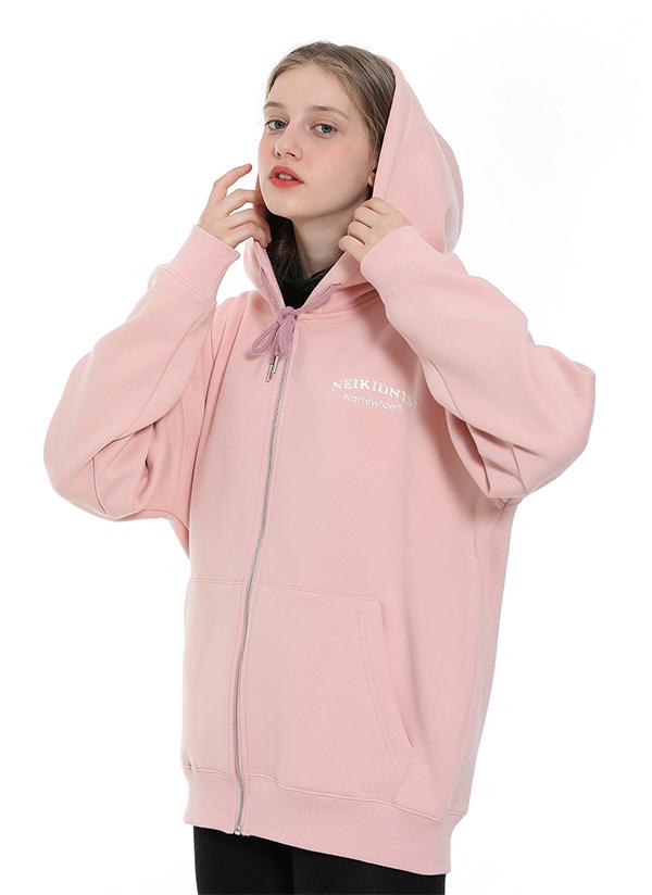ワールドロゴ裏起毛ジップアップ(ピンク)