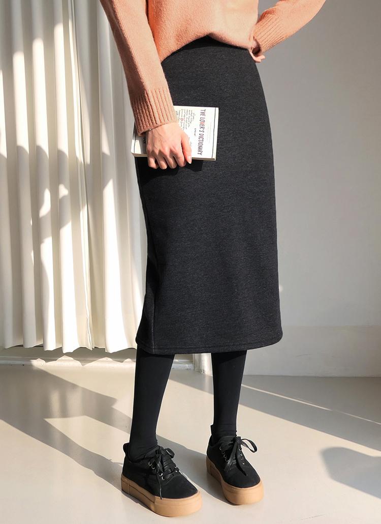 裏起毛イージーHラインスカート・全5色