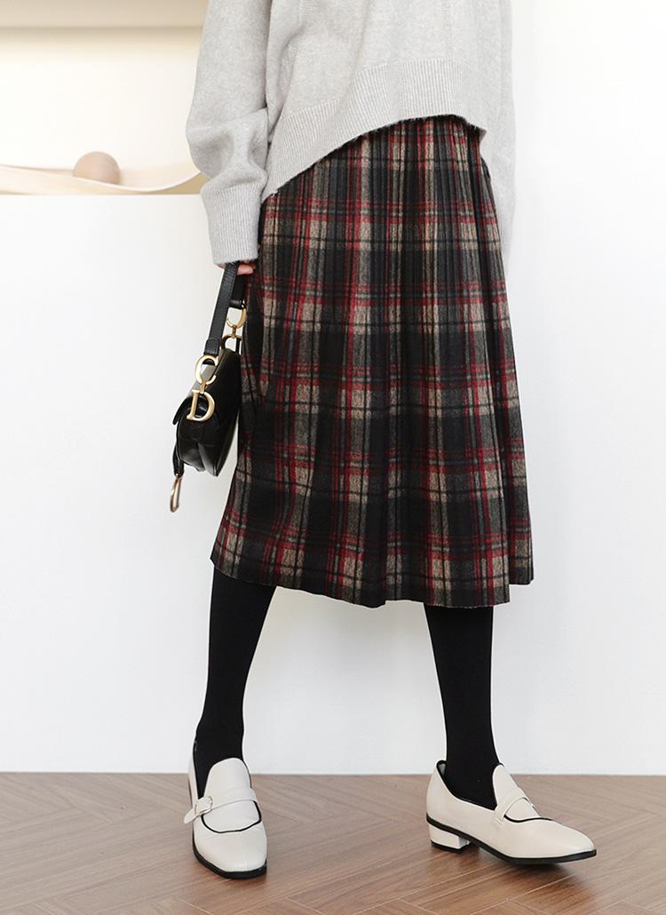 チェックプリーツフレアスカート・全2色