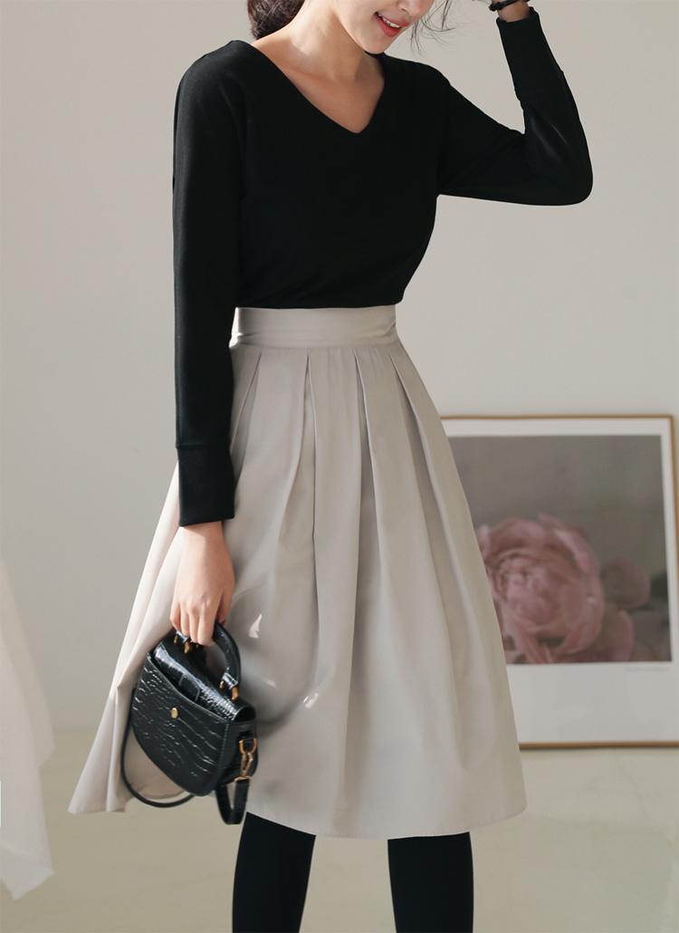 タックフレアミディスカート・全5色