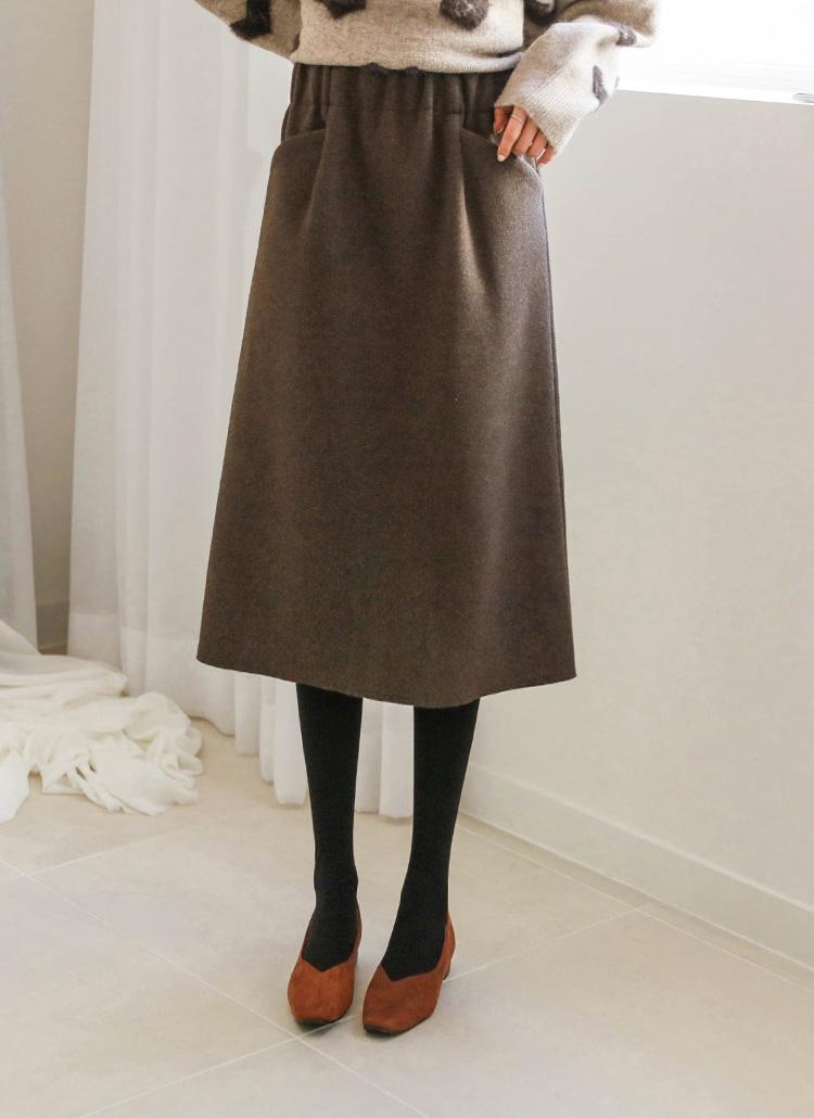 ウエストゴムウールミックススカート