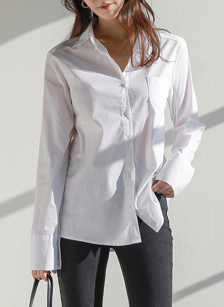 ワンポケットホワイトコットンシャツ