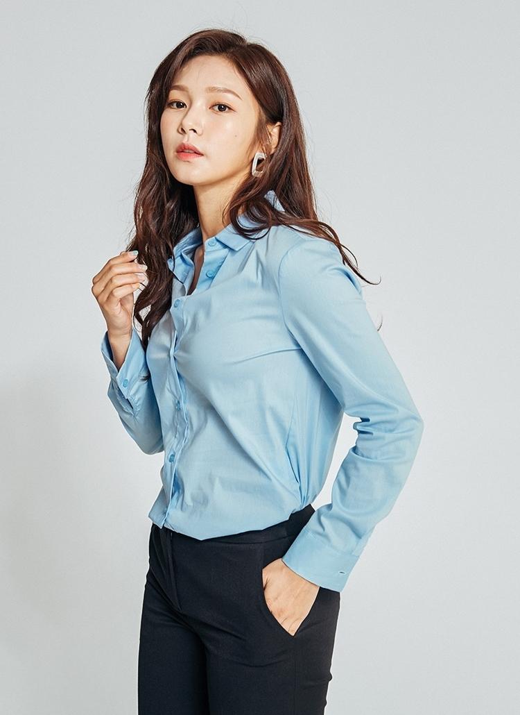 スリムポケットレスシャツ(ブルー)