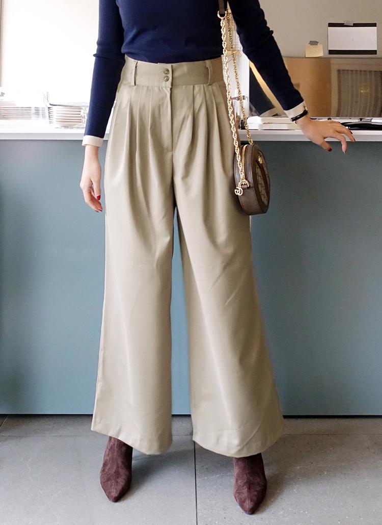dd8cc5604e414 ツーボタンワイドタックパンツ・全2色パンツ・ジーンズパンツ・ズボン ...
