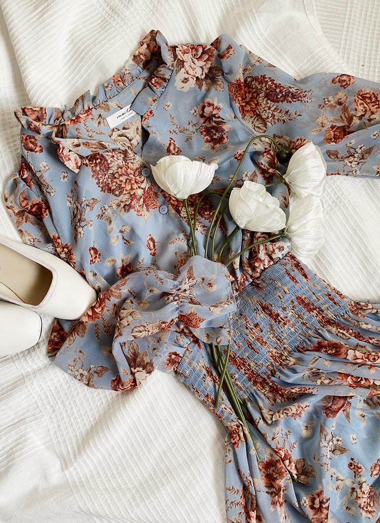 ウエストシャーリング花柄ロングワンピース・全3色