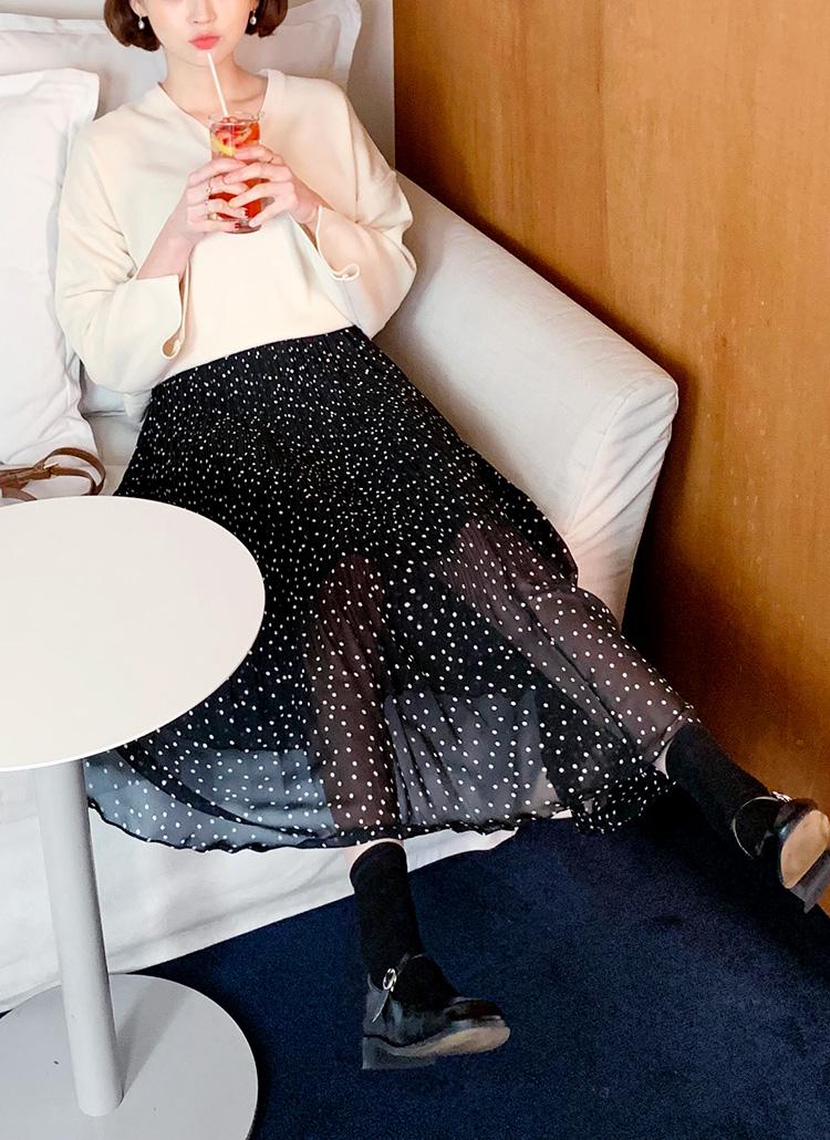 プリーツドットロングスカート・全2色