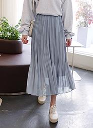 975284123cf42 シフォンウエストゴムプリーツスカート・全3色