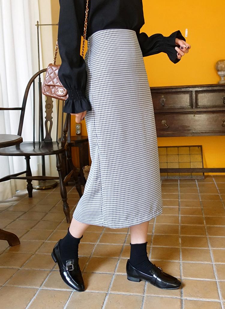 チェックスリットロングスカート・全2色