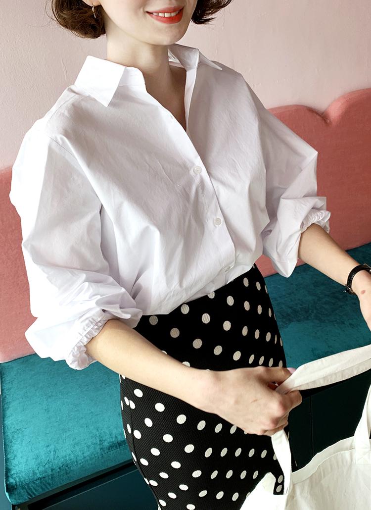 パフスリーブコットンシャツ・全3色