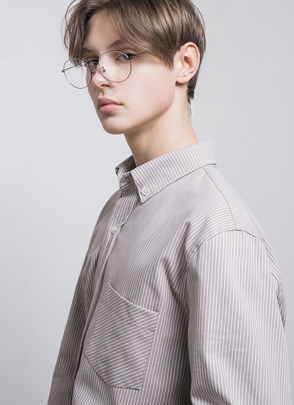 ボタンダウンストライプユニセックスシャツ(ココア)