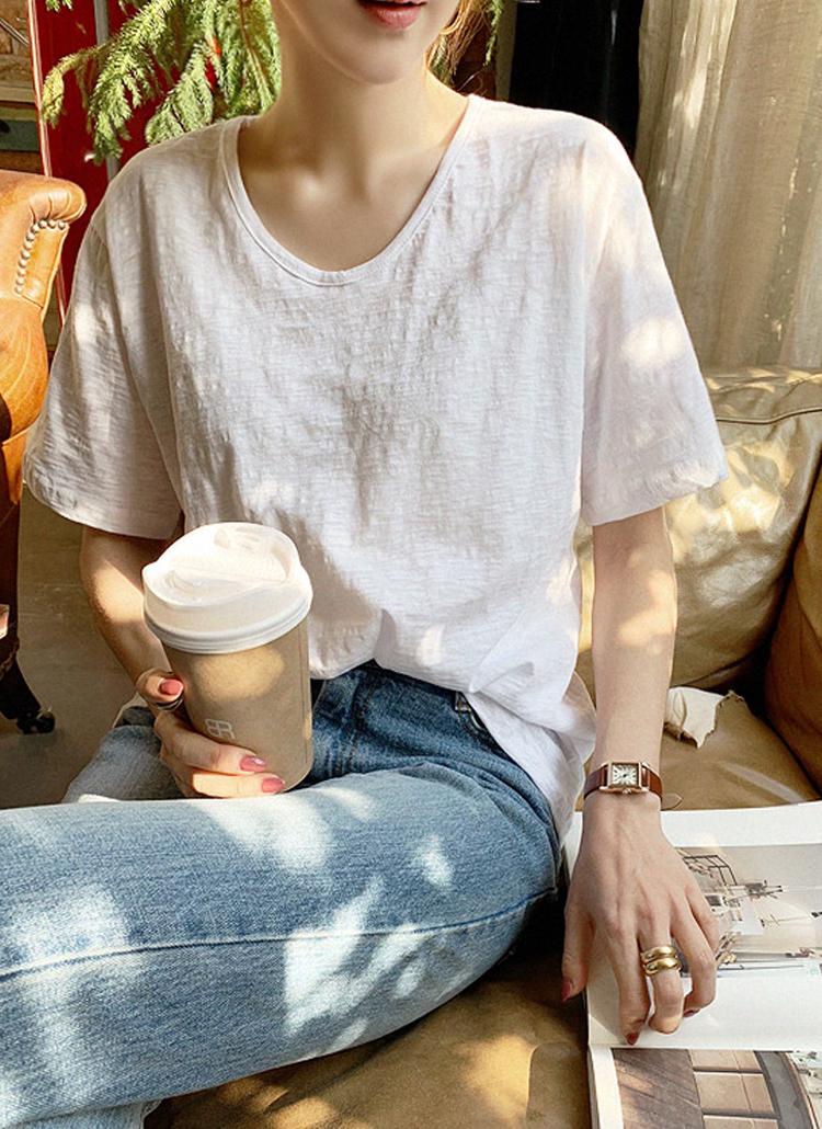 ウォッシュドコットン半袖Tシャツ