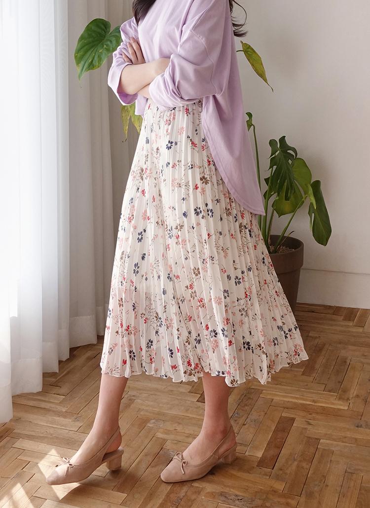 7aa6c3ae67430 シフォンプリーツフローラルスカート・全2色スカートスカート