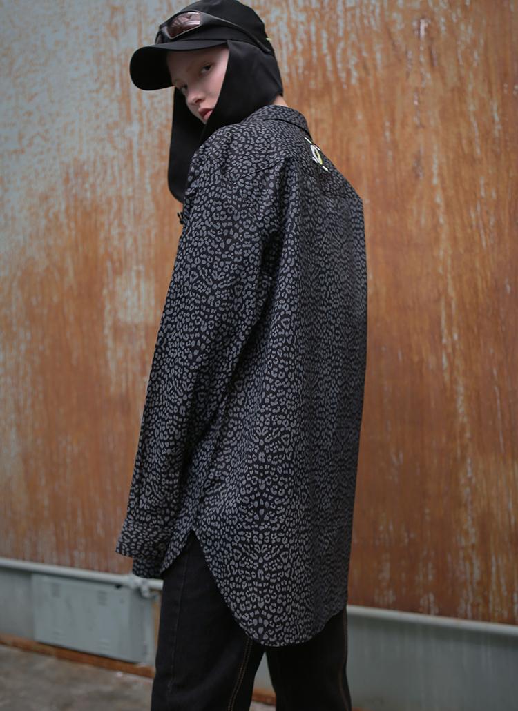 レオパードオーバーシャツ(ブラック)