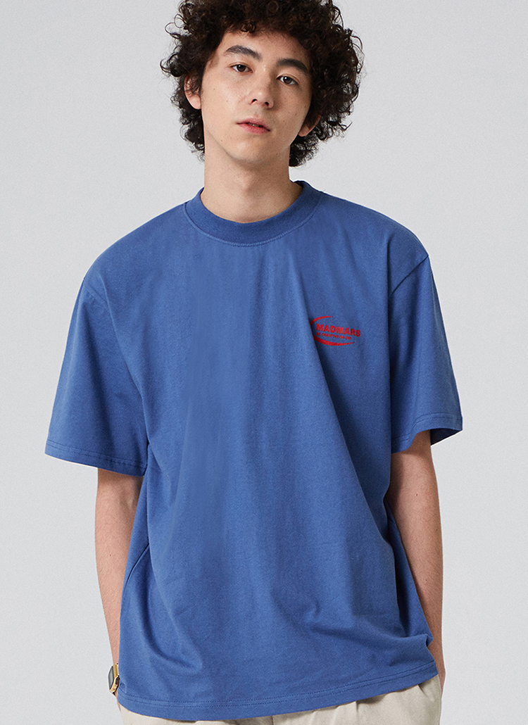 NEW MOONロゴ半袖Tシャツ(ネイビー)