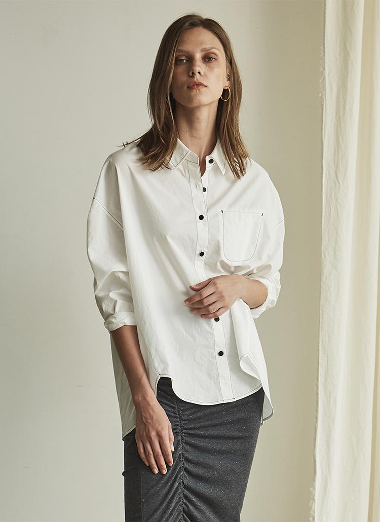オーバーサイズステッチシャツ(ホワイト)