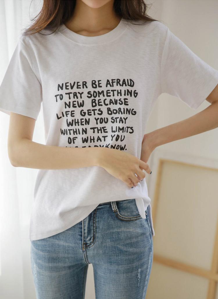 neverレタリング半袖Tシャツ