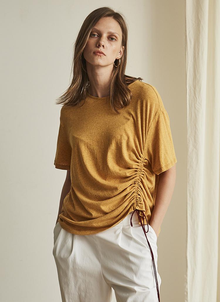 シャーリングポイント半袖Tシャツ(イエロー)