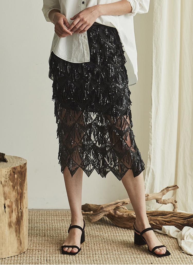 ダイヤ柄スパンコールスカート(ブラック)