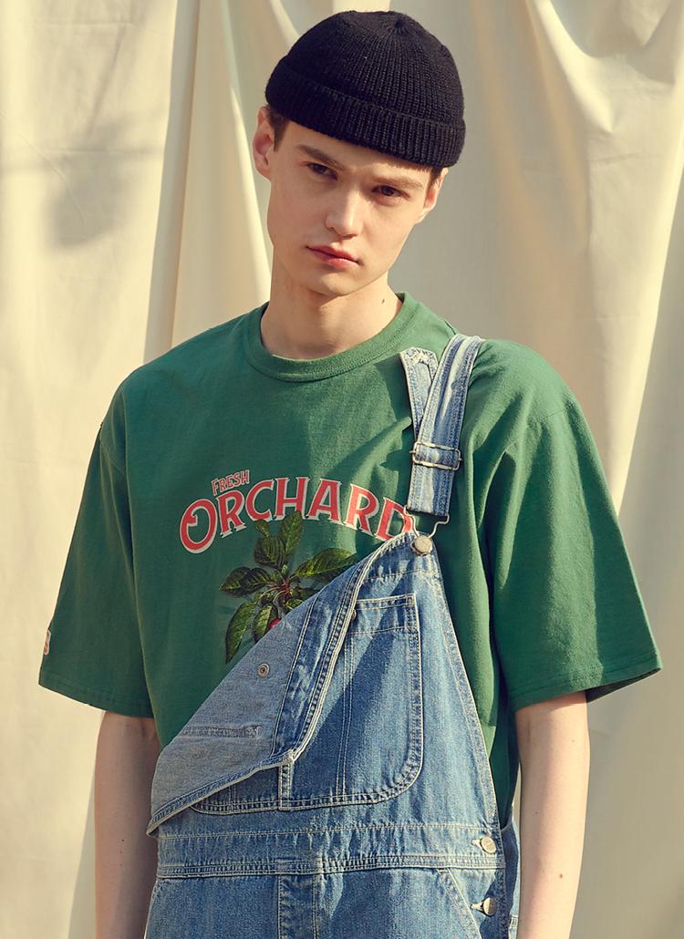 チェリープリント半袖Tシャツ(ライトグリーン)