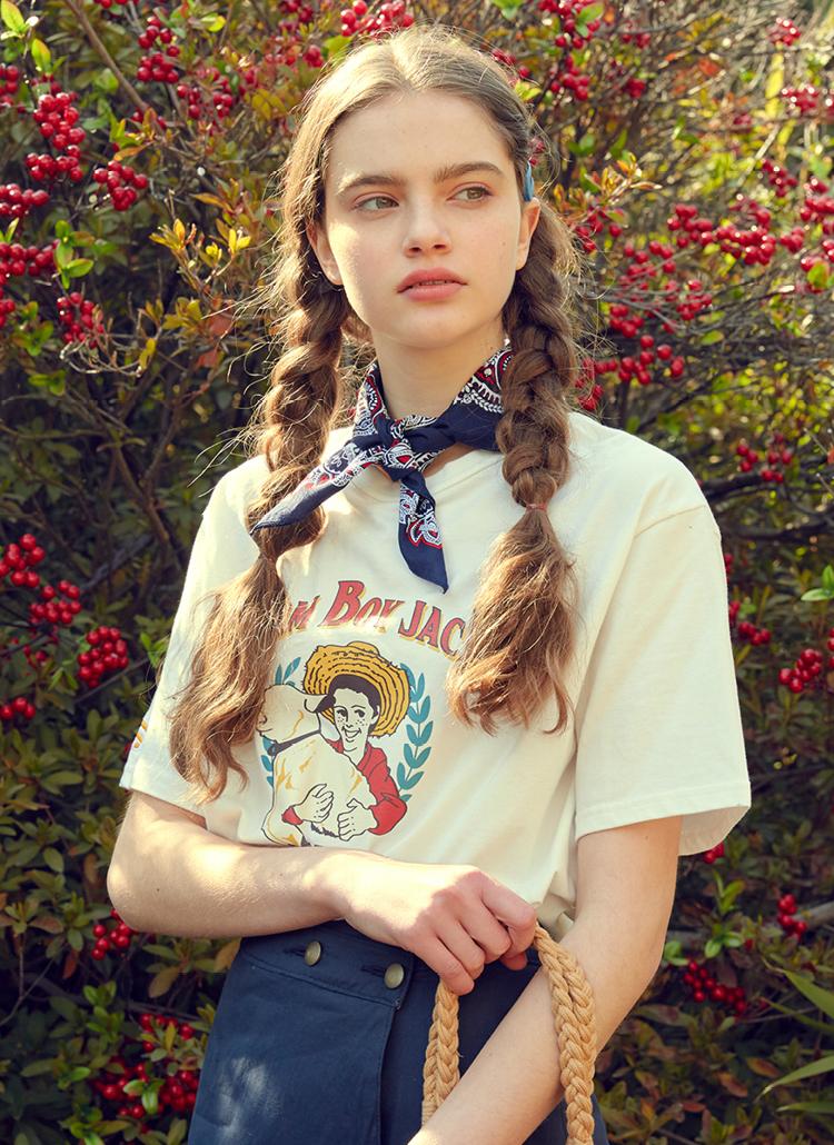 Farmboyプリント半袖Tシャツ(アイボリーホワイト)