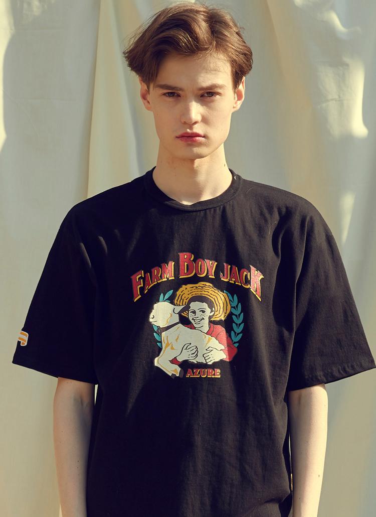 Farmboyプリント半袖Tシャツ(ブラック)