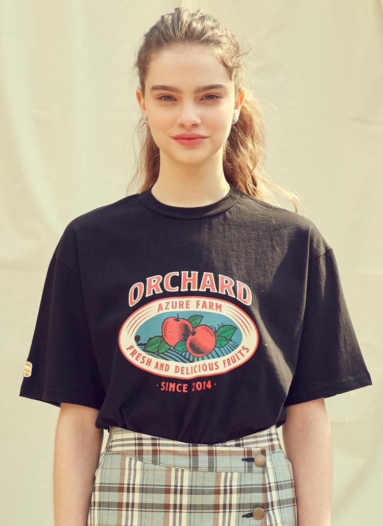 アップルプリント半袖Tシャツ(ブラック)