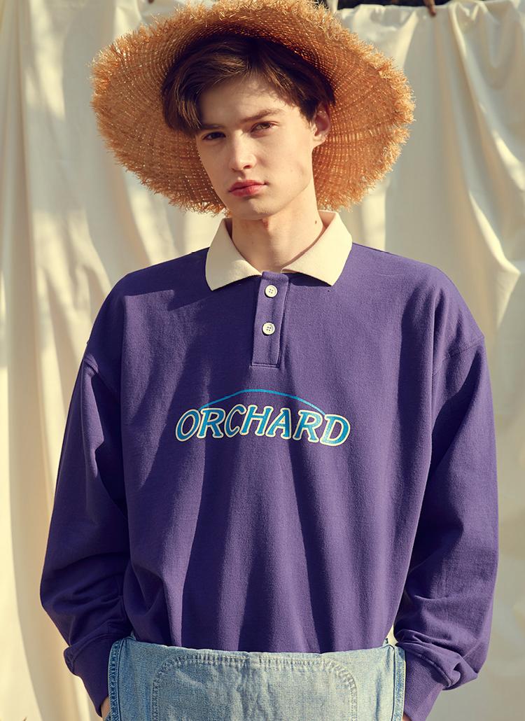 Orcharポロカラー長袖Tシャツ(バイオレット)