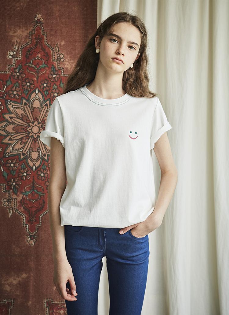 グリッタースマイルロゴTシャツ(ホワイト)