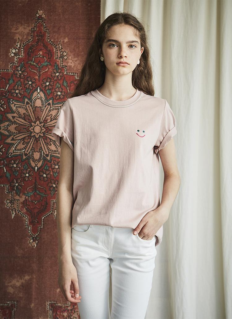 グリッタースマイルロゴTシャツ(ピンク)
