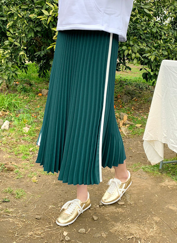 サイドカラーロングプリーツスカート