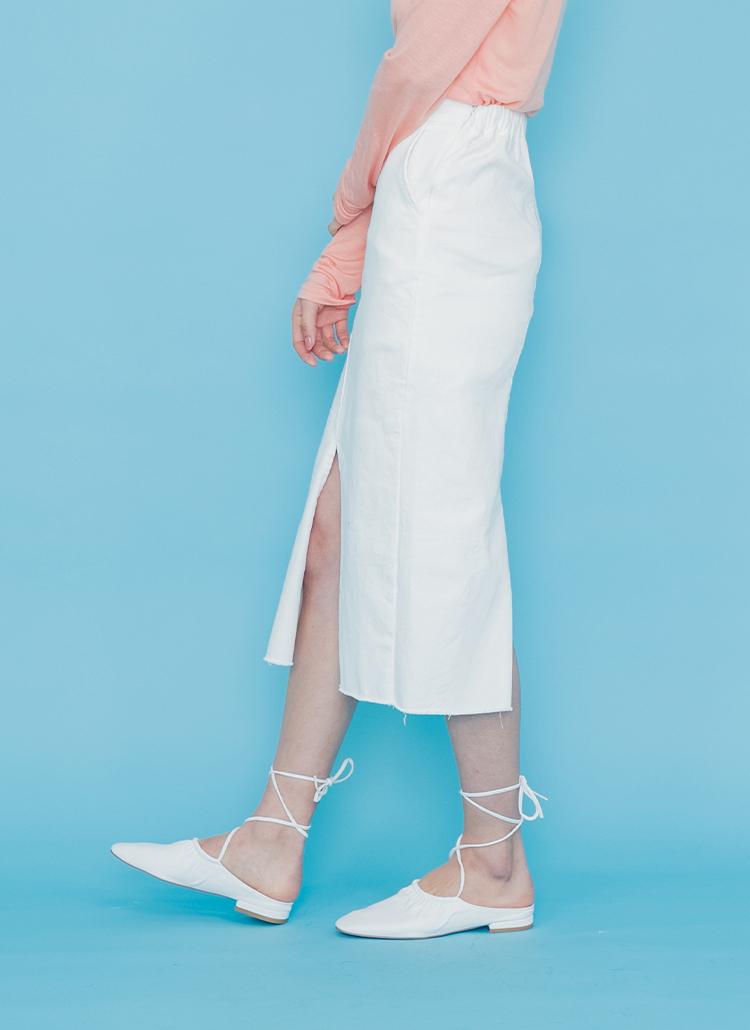 ロングスリット綿混スカート