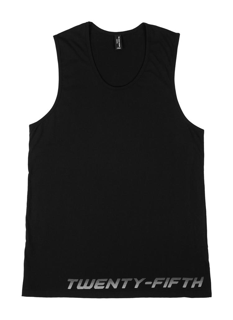 25thレタリングスリーブレス(ブラックホワイト)