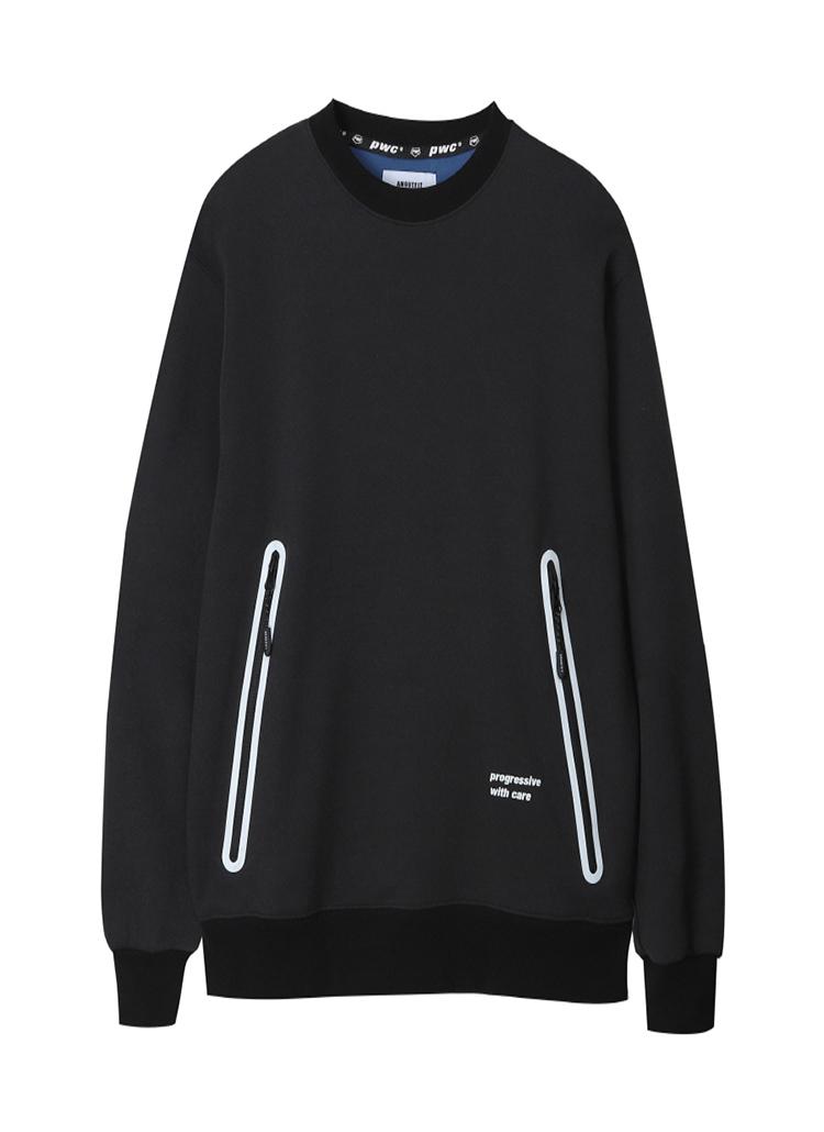 配色ポイントスウェットシャツ(ブラック)