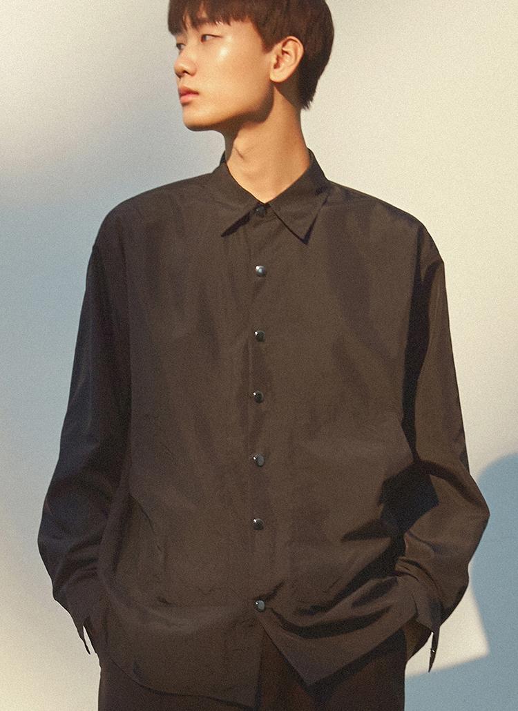 アウトポケットスナップボタンシャツ(ブラック)