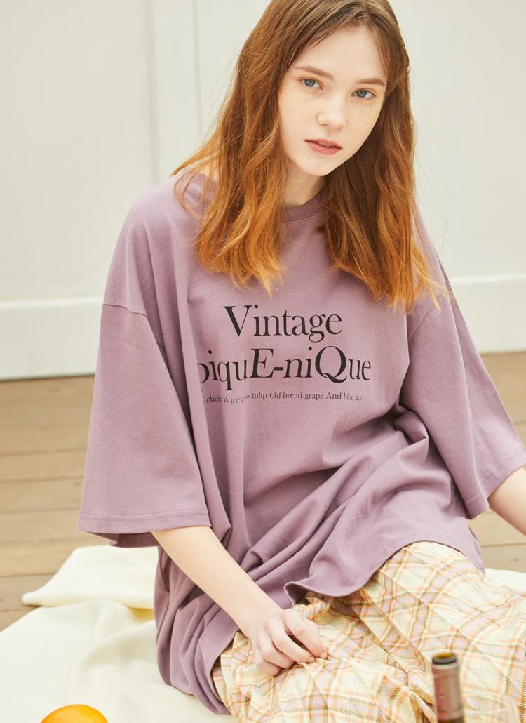 VINTAGEレタリングボクシーTシャツ(パープル)