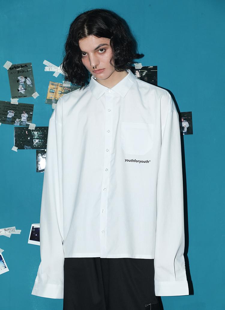 バックレタリングシャツ(ホワイト)