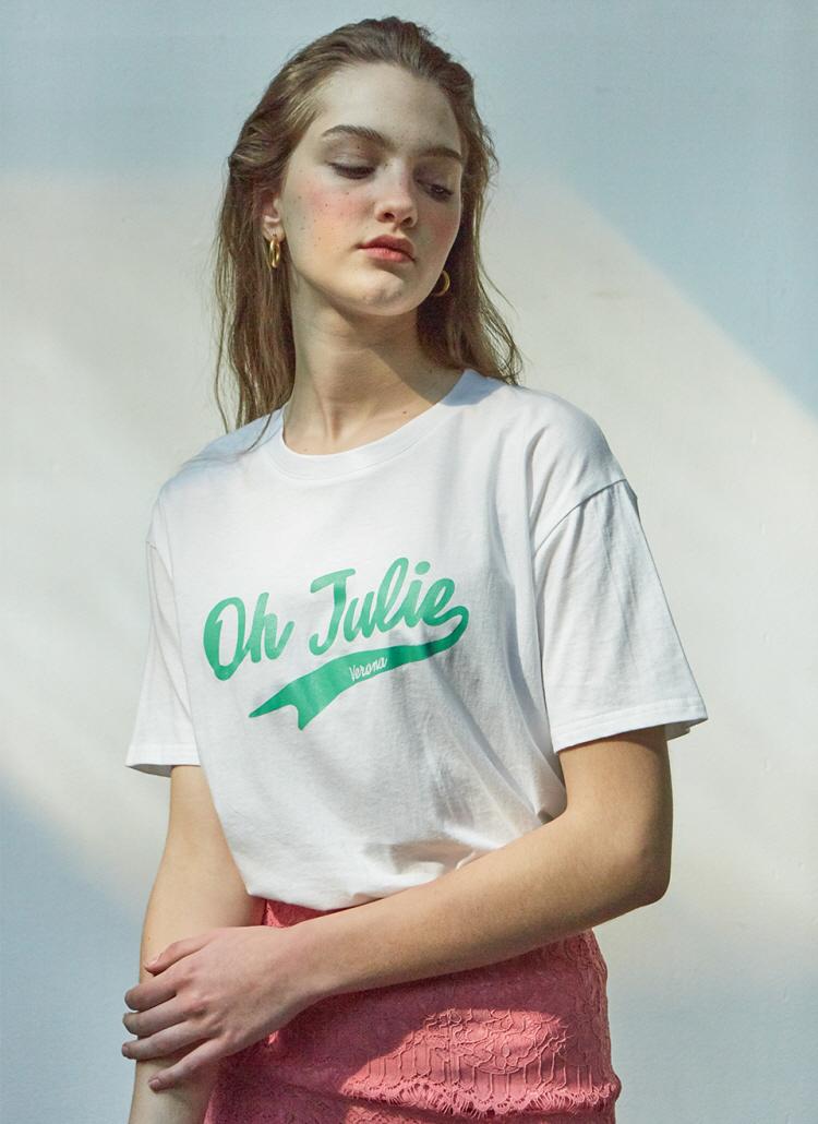 Julieロゴプリント半袖Tシャツ(ホワイト)