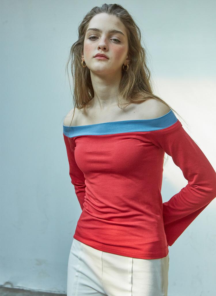 JulieオフショルTシャツ(レッド)