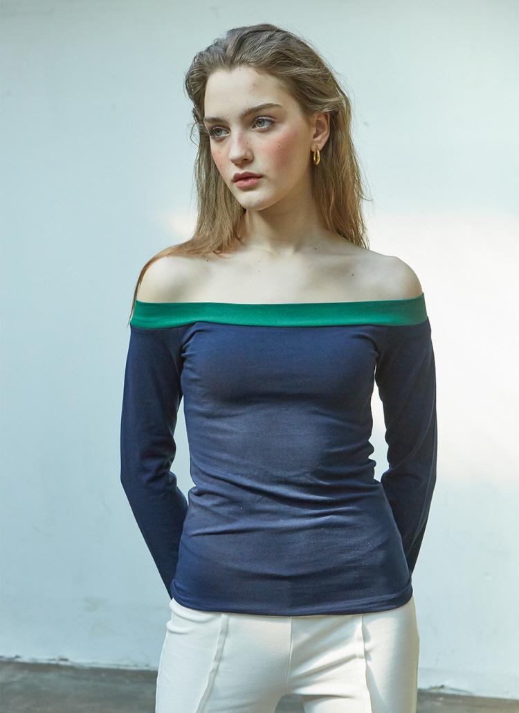 JulieオフショルTシャツ(ネイビー)