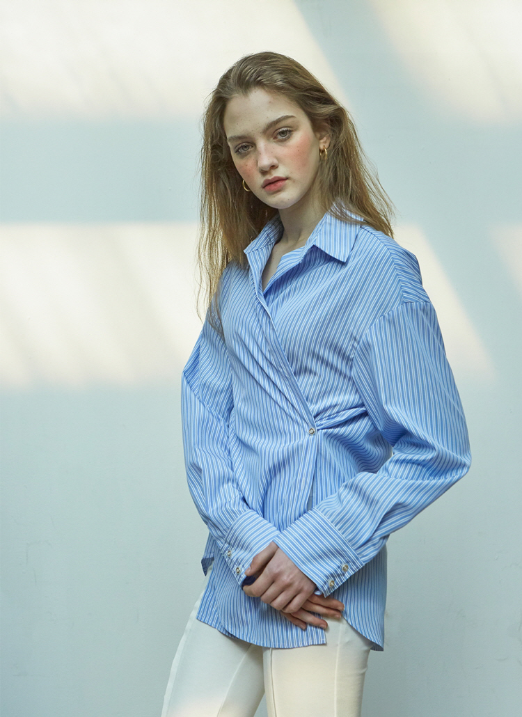 2WAYストライプラップシャツ(ブルー)