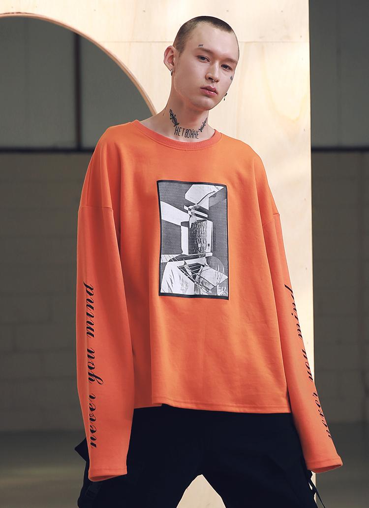 オーバーサイズロングスリーブシャツ(オレンジ)