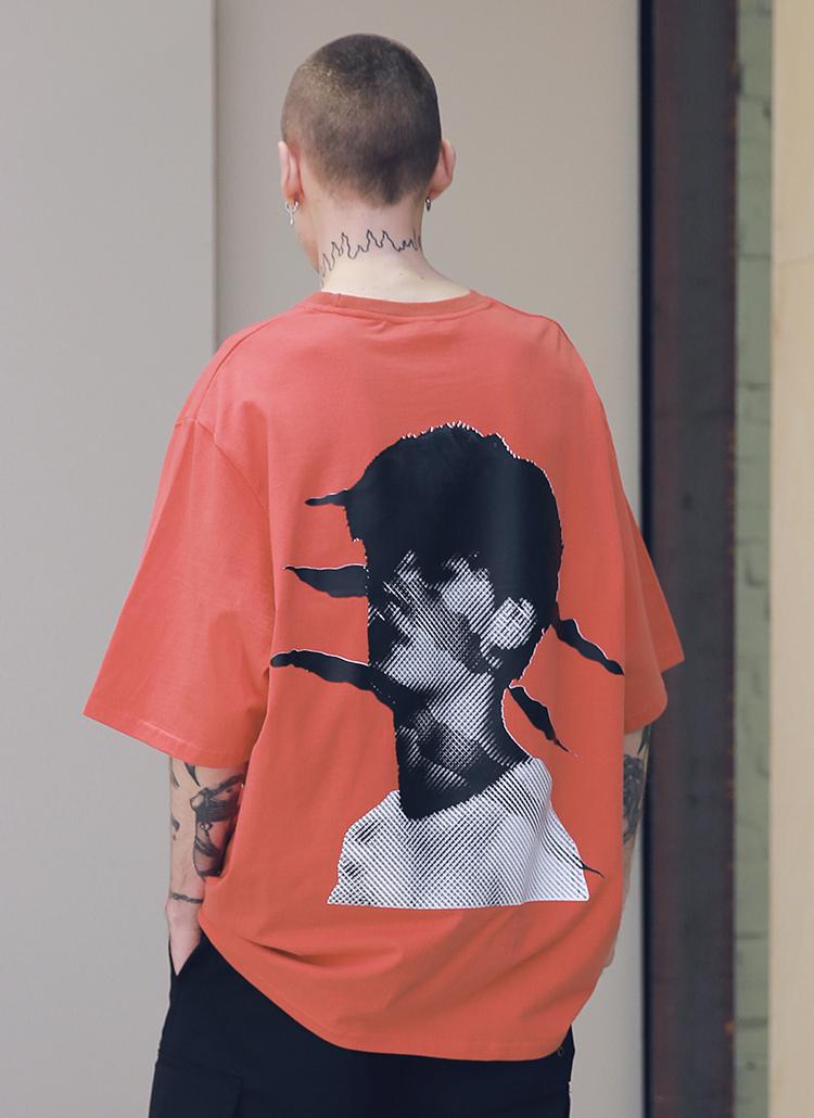 <font color=red><b><予約商品></b></font>スクラッチオーバーサイズTシャツ(コーラル)