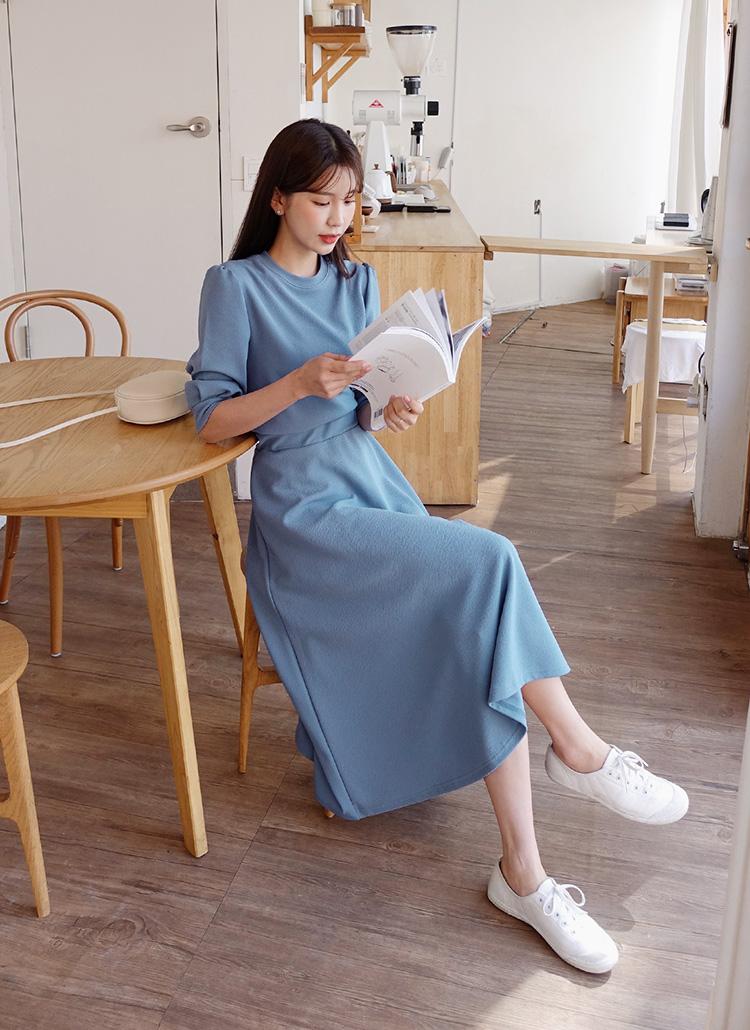 パフスリーブTシャツ&フレアスカートSET・全3色