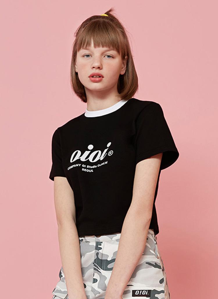 SERIFロゴスリムクロップドTシャツ(ブラック)