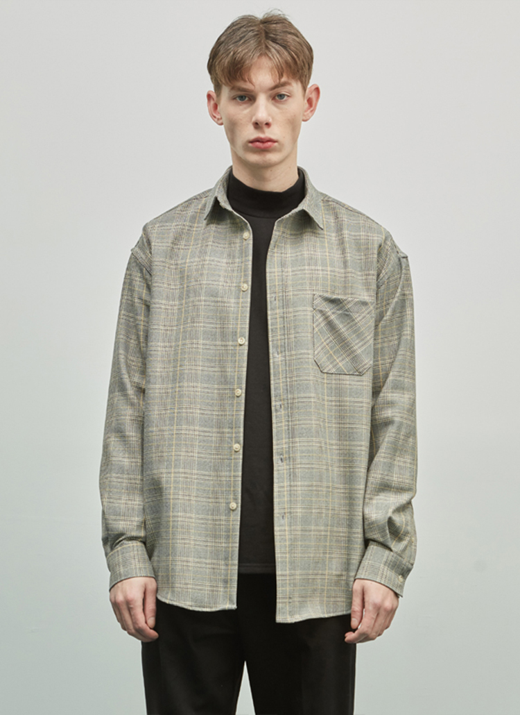 オーバーグレンチェックシャツ(ブラウン)