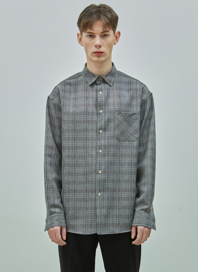 オーバーグレンチェックシャツ(ブラック)
