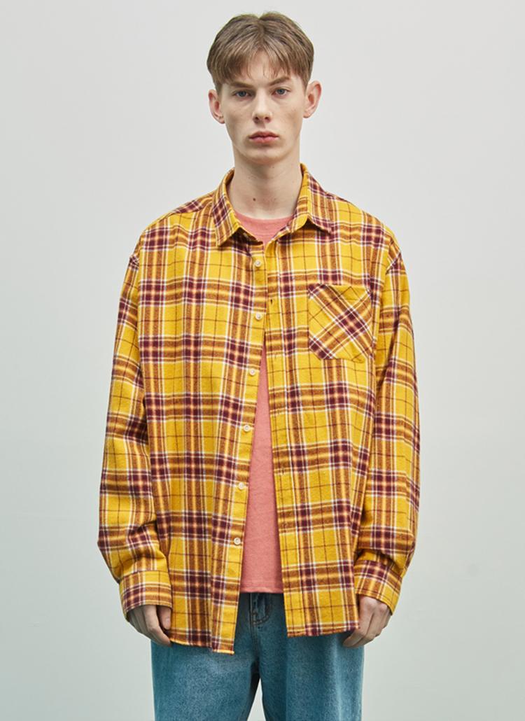 19SSオーバーチェックシャツ(イエロー)
