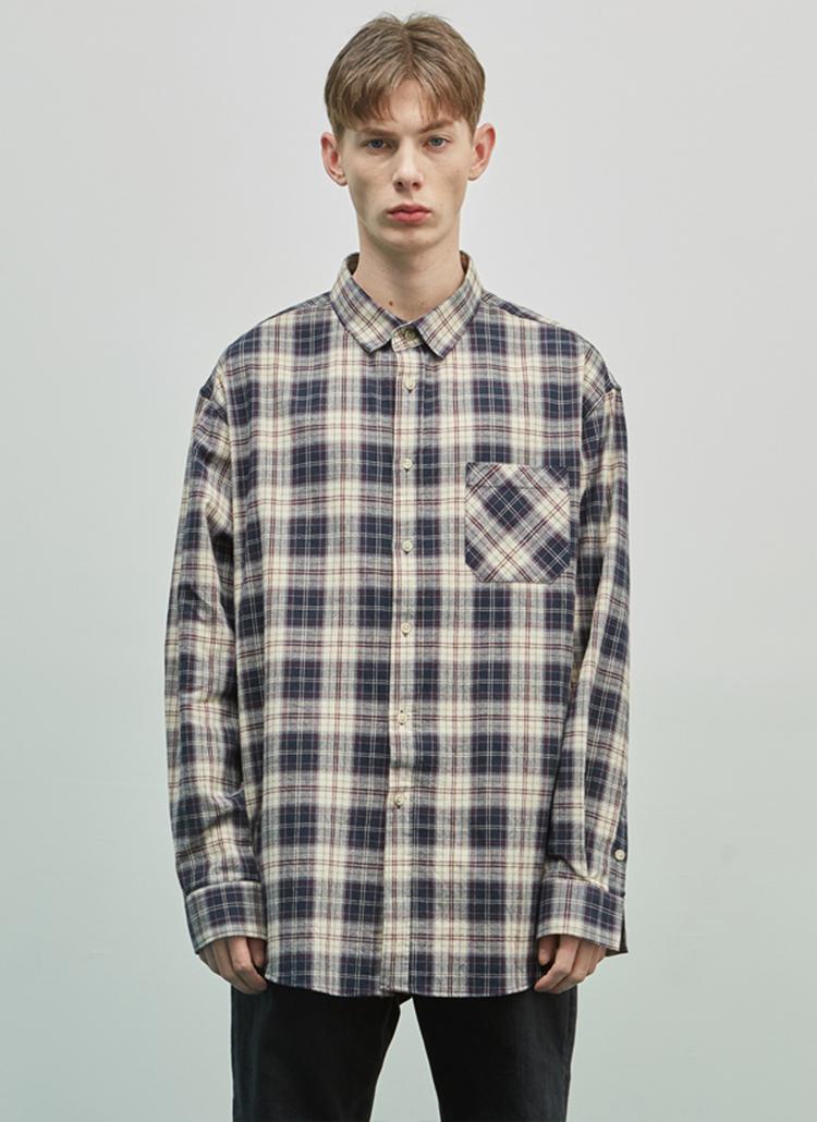19SSオーバーミックスチェックシャツ(ネイビー)
