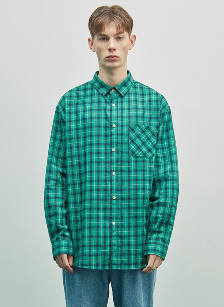 オーバータータンチェックシャツ(グリーン)