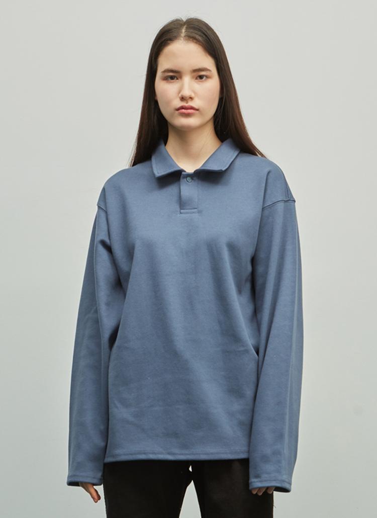 長袖スウェットポロシャツ(ブルー)